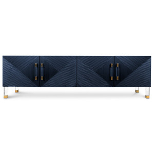 Navy Blue 4 Door Ribbed Credenza with Lucite Hardware