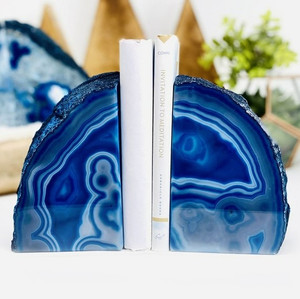 Blue Agate Geode Bookends,