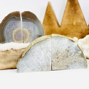 Natural White Agate Geode Bookends, Pair