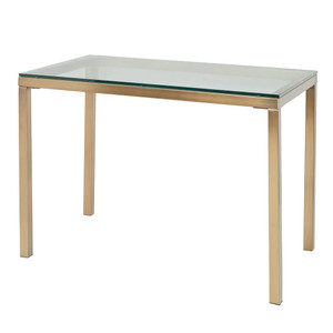Modern Gold Parsons Desk with Glass Top