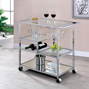 Chrome Multi Level Bar Cart with Glass Shelves