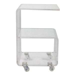 Clear Lucite Storage Side Table on Wheels rolling storage shelf