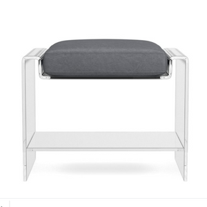 U Shape Clear Lucite Ottoman with Cushion Top, Options