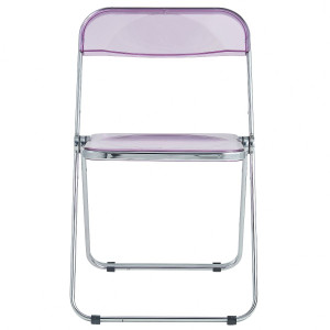 Sheer Magenta Acrylic Folding Chair with Chrome Trim game breakfast card table foldable