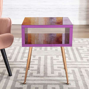 Color Acrylic Mirror Open Side Table with Gold Legs purple kids nightstand