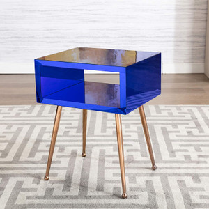 Color Acrylic Mirror Open Side Table with Gold Legs blue kids nightstand