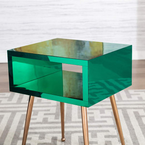Color Acrylic Mirror Open Side Table with Gold Legs green kids nightstand