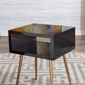 Color Acrylic Mirror Open Side Table with Gold Legs black kids nightstand