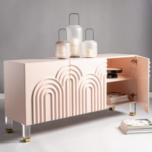 Safavieh Couture Saturn Wave Acrylic Sideboard pink lacquer three 3 door storage credenza