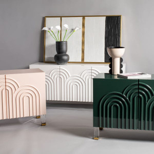 lacquered retro style three door storage cabinet Safavieh Couture Saturn Wave Acrylic Sideboard