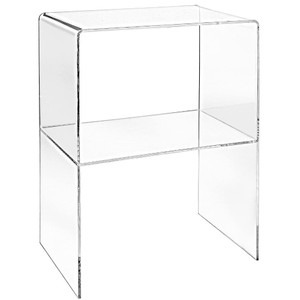 Clear Acrylic Waterfall Side Table with Shelf