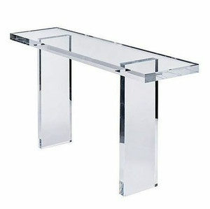 """1"""" Thick Clear Lucite Console Table with Overhang"""