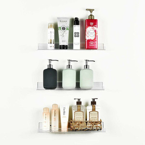 Set of 3 Clear Acrylic Floating Wall Shelves