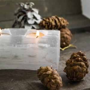 Selenite White 3 Light Votive Candle Log, Set of 2