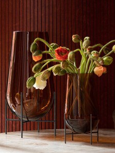 Echasse Amber Glass Vase on Stand, Sizes Options