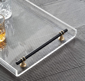 Large Lucite Tray with Black Handles and Gold