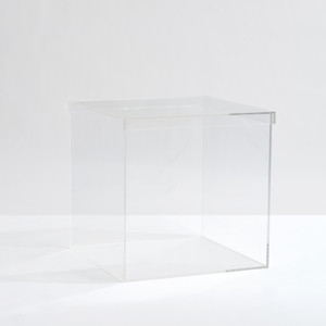 large clear acrylic lucite box cube storage bin lid top toys food stackable