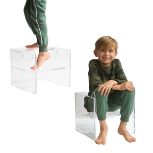 Clear Lucite Kid's Flip Step Stool Chair
