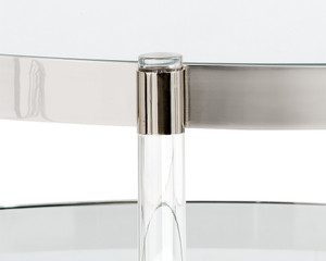 Round Stainless Steel and Acrylic  Coffee Table with Shelf