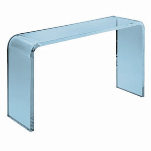 aby Blue Lucite Waterfall Collection console coffee end table aqua modern