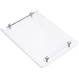 Clear Serving Tray with Cylinder Handles
