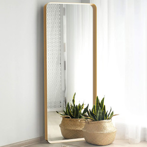 Gold Metal Frame Leaner Mirror with Deep Frame