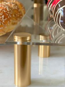 Clear Acrylic Raised Serving Platters on Metal Legs
