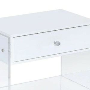White 1 Drawer Nightstand with Clear Lucite Legs and Shelf