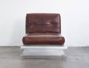 Distressed Leather S Lucite Accent Chair