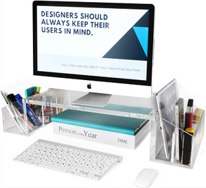 Clear Acrylic Monitor Stand with Side Compartments