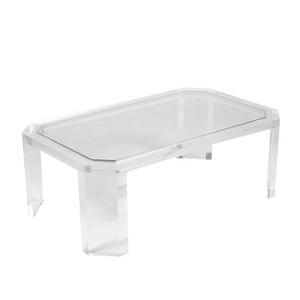 "1"" Lucite Angled Leg Rectangular Coffee Table"