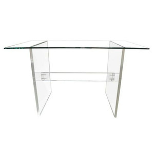 Clear Lucite Desk with Trestle Base