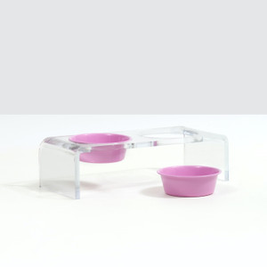 Acrylic Double Bowl Feeder with Color Bowls by Hiddin