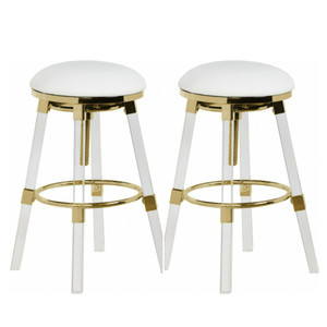 Backless Lucite and Gold Glam Swivel Barstools, Set of 2