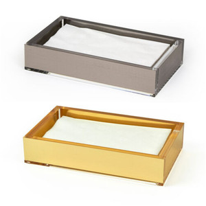 Modern Metallic Lucite Bathroom Napkin Tray