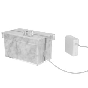 Acrylic & Marble Telephone Charger Box with Lid