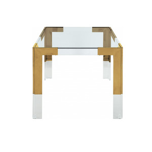 Retro Modern Brass and Lucite Desk with Glass Top