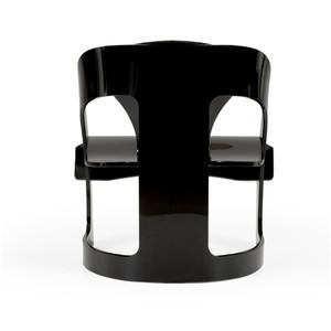 Modern Solid Lucite Black Pretzel Chair (490587