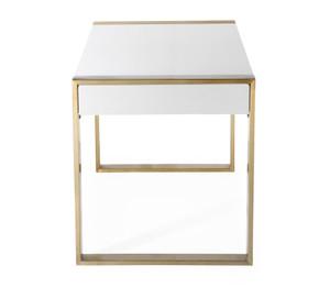 White and Gold Modern 2 Drawer Desk with Lucite Hardware (karina/TOV-GH5509
