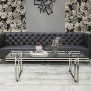 Large Contemporary Chrome Coffee Table with Glass Top