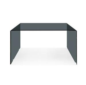 smoke grey glass parsons waterfall desk modern