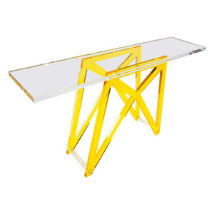 Modern Color Lucite X Base Console Table