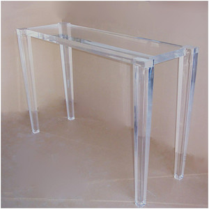 Tapered Facet Leg Lucite Console Table