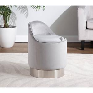 Art Deco Velvet Low Back Vanity Swivel Chair with Metal Base