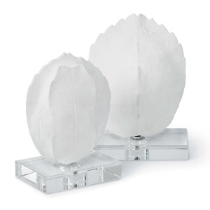 Regina Andrew Turtle Shell On Crystal Decorative Object Set of 2  faux turtle shell on stand for white interiors