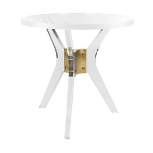 lucite side table with round top and clear x base with brass detail safavieh werner end table