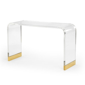 Chelsea house acrylic clear lucite waterfall console table with gold accents