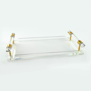 large lucite decorative acrylic clear serving tray with handles tizo