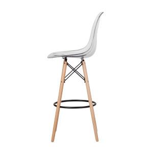 mid century style barstool clear plastic acrylic wood legs khazana eames replica