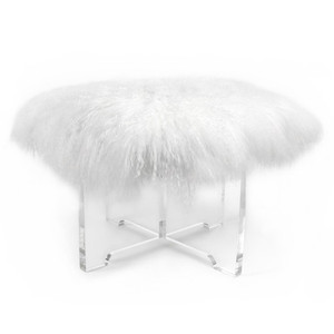 pasargad Firenze lucite ottoman square cube stool bench modern contemporary clear acrylic